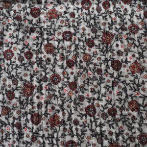 Baumwollstoff Musselin – Blumenfeld nude rosa